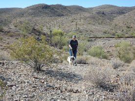 Bella and Kim hiking